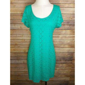 Isaac Mizrahi Green Eyelet Overlay Shift Dress
